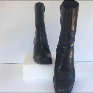 Nine West Foxleigh Black Leather Heeled Boots 6M